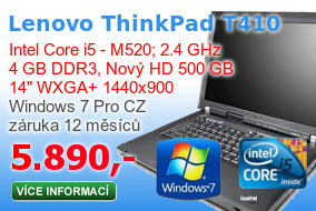 Notebook Lenovo ThinkPad T410 s 500 GB diskem